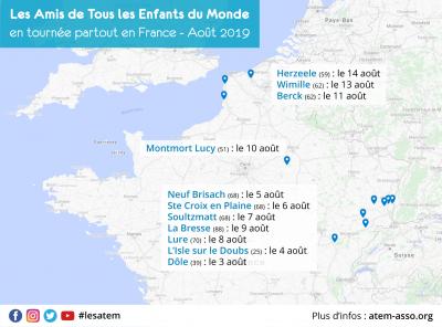 Carte de France indiquant les lieux des veillées de la tournée d'été 2019